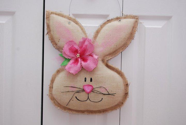 Girl Burlap Easter Spring Bunny Door Hanger Greeter Wall Decor